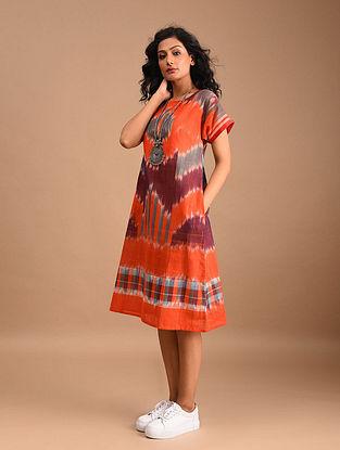 KSHIRIN - Orange Handloom Cotton Gamcha Dress