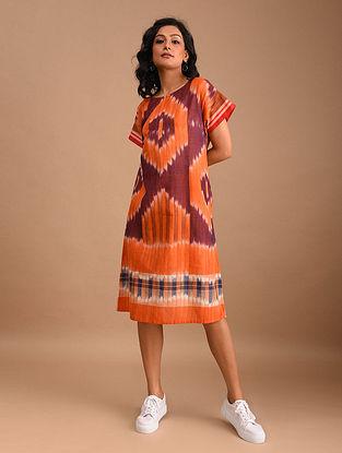 MALARI - Orange Handloom Cotton Gamcha Dress