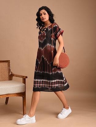 NAURA - Black Handloom Cotton Gamcha Dress