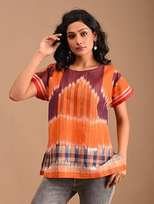JUI - Orange Handloom Cotton Gamcha Top