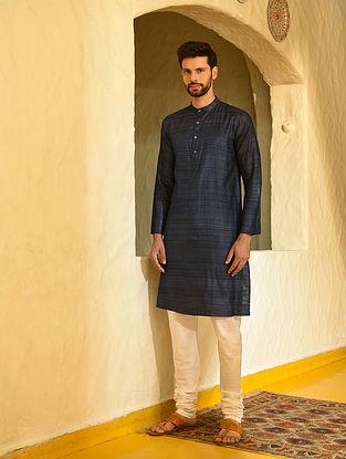 Blue Handloom Tussar Ghicha Silk Long Kurta