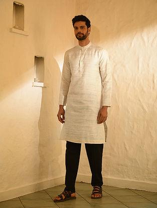 Ivory Handloom Tussar Ghicha Silk Long Kurta