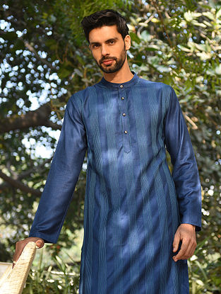 Blue Tussar Cotton Top Stitch Long Kurta