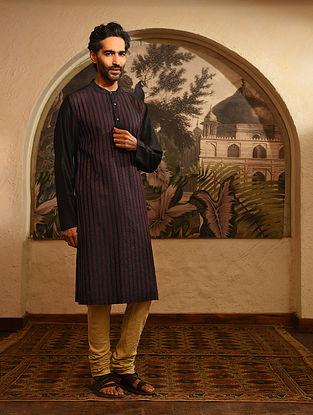 Black Tussar Cotton Top Stitch Long Kurta