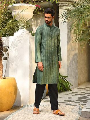 Green Tussar Cotton Zari Pintuck Long Kurta