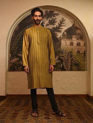 Mustard Tussar Cotton Zari Pintuck Long Kurta