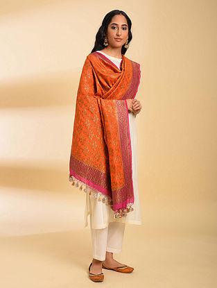 Orange Handloom Benarasi Muga Silk Dupatta