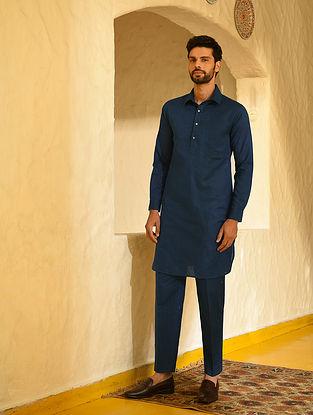 Indigo Cotton Linen Muktsari Kurta and Pants