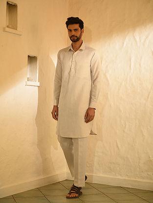 Beige Cotton Linen Muktsari Kurta and Pants