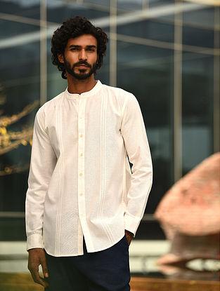 Off white Cotton Linen Pleated Full Sleeve Shirt