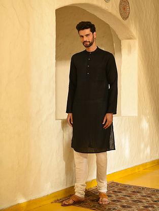 Black Cotton Linen Long Kurta