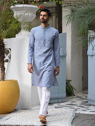 Blue Cotton Linen Striped Long Kurta
