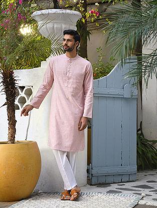 Pink Cotton Linen Striped Long Kurta