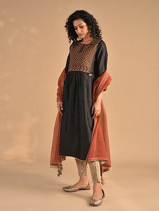 NISMIYA - Black Jat Embroidered Silk Kurta