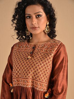 MEHRIFA - Rust Jat Embroidered Silk Kurta