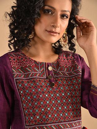 NAYILA - Purple Jat Embroidered Silk Kurta