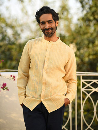 Yellow Linen Pleated Full Sleeve Shirt