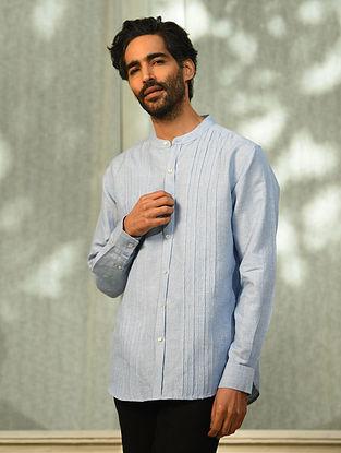 Blue Linen Pleated Full Sleeve Shirt