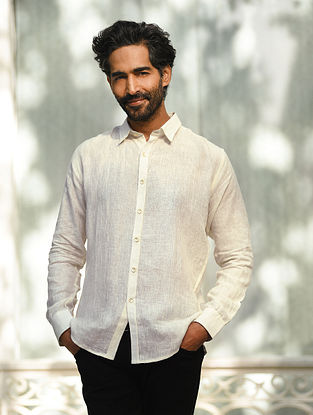 White Linen Full Sleeve Shirt