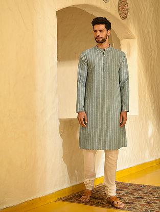 Green Cotton Linen Striped Long Kurta