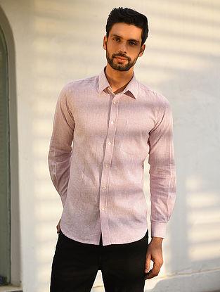 Pink Cotton Linen Full Sleeve Striped Shirt