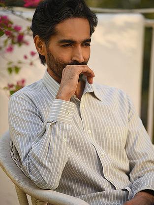 Beige Cotton Linen Full Sleeve Striped Shirt