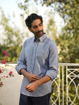 Blue Cotton Linen Full Sleeve Striped Shirt
