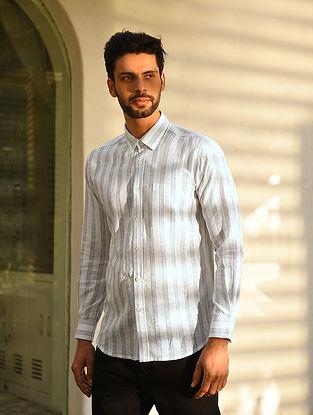 White Cotton Linen Full Sleeve Striped Shirt