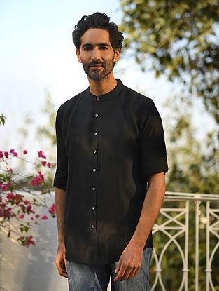 Black Cotton Linen Full Sleeve Pintuck Shirt