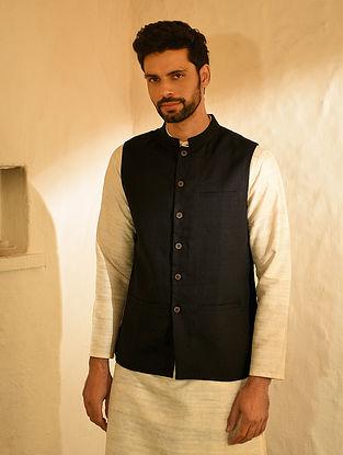 Black Linen Nehru Jacket