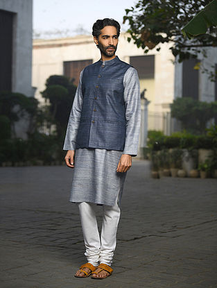 Blue Handloom Tussar Ghicha Silk Nehru Jacket