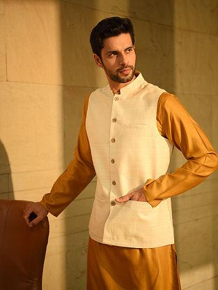 Ivory Handloom Tussar Ghicha Silk Nehru Jacket