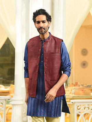 Maroon Handloom Tussar Ghicha Silk Nehru Jacket