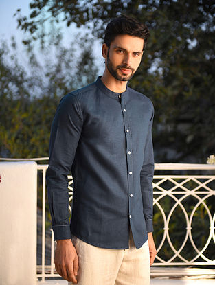 Blue Linen Full Sleeve Shirt