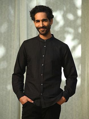 Black Linen Full Sleeve Shirt