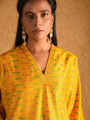 Yellow Silk Ikat Kurta