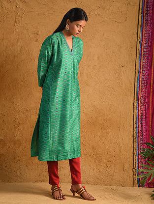 Green Silk Ikat Kurta