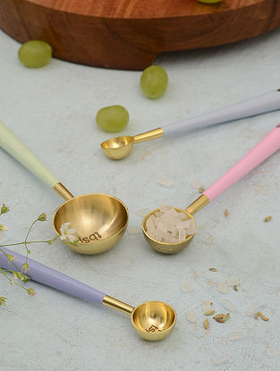 Gold and Multicolor Stainless Steel and Brass Measuring Spoons (Set of 4)