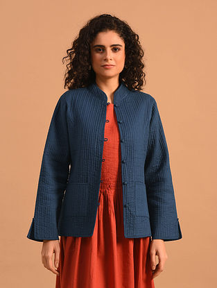 SINIKKA - Blue Cotton Quilted Jacket