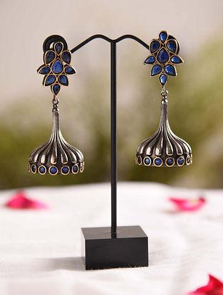 Blue Dual Tone Tribal Jhumki Earrings