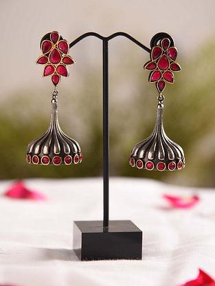 Maroon Dual Tone Tribal Jhumki Earrings