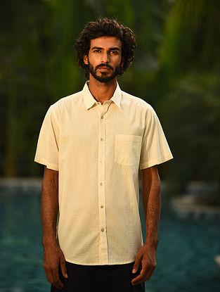 Ivory Handspun and Handwoven Cotton Half Sleeve Shirt