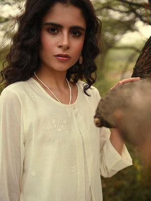 ANAASAT - Ivory Cotton Mul Embroidered Kurta