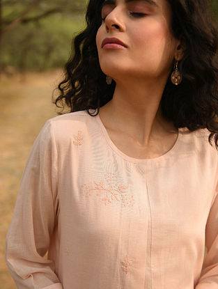 ANASA - Pink Cotton Mul Embroidered Kurta