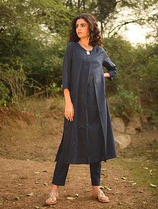 SALWA - Blue Cotton Mul Embroidered Kurta