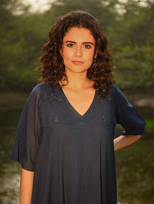 REEHA - Blue Cotton Mul Embroidered Kurta