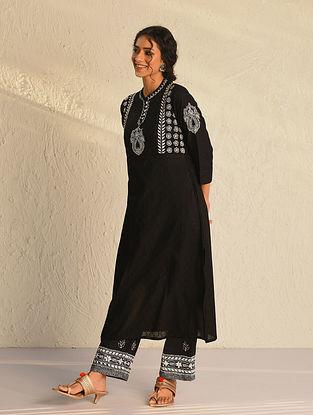 Black Chikankari Cotton Kurta with Mukaish