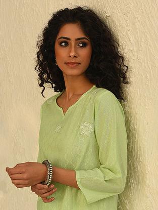 Green Chikankari Cotton Kurta with Mukaish