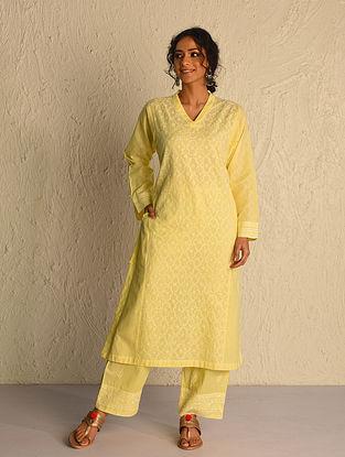 Yellow Chikankari Cotton Kurta with Mukaish