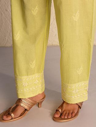 Yellow Tie-Up Waist Chikankari Cotton Pants